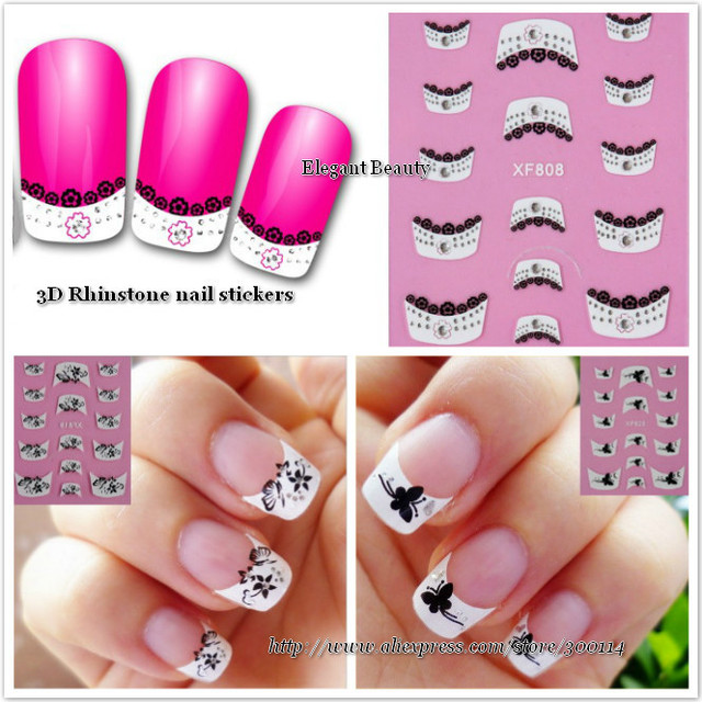 wholesale High Quality 3D lace black & white Nail Art seal French tip with Rhinstone 3D nail sticker 500packs/lot free shipping