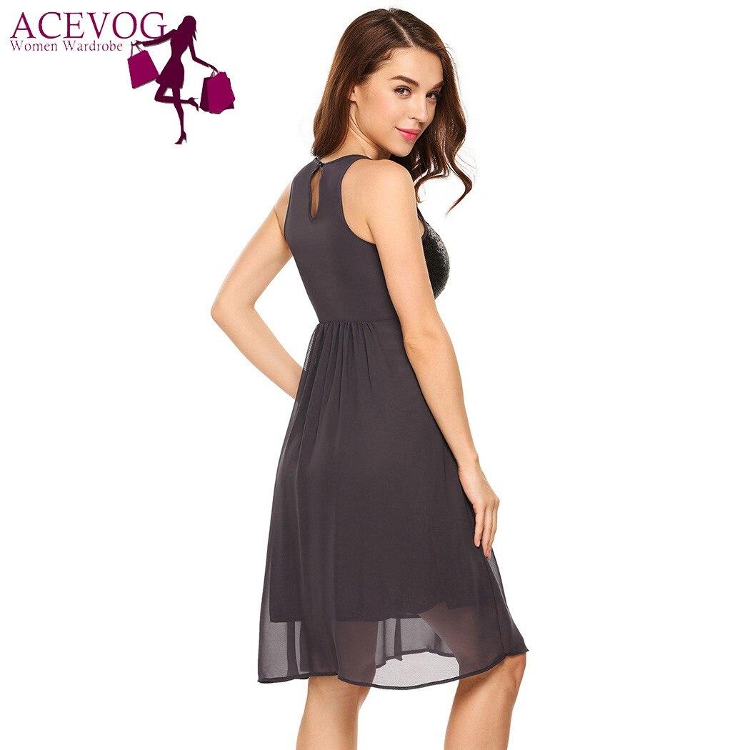 ACEVOG Frauen Elegantes Kleid Arbeiten Beiläufiges Sleeveless ...