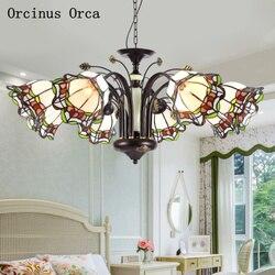 Morza śródziemnego klasyczne witraż żyrandol salon jadalnia sypialnia europejska retro kreatywny LED żyrandol w Wiszące lampki od Lampy i oświetlenie na