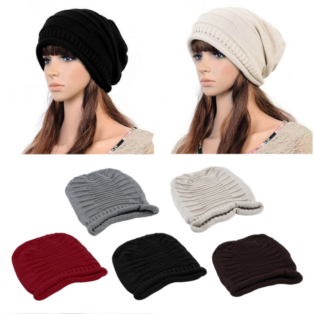 NEW Women Ladies Unisex Winter Knit Plicate Slouch Cap Hat Knitted Baggy Beanies Casual 4 colors