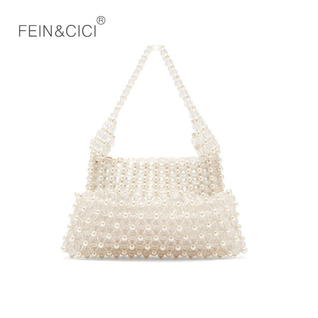 Perlas de acrílico con cuentas bolsa mujeres fiesta retro vintage 2018 nueva marca de lujo blanco embrague envío caída al por mayor