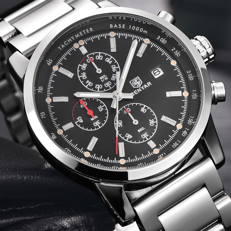Relogio Masculino BENYAR Fashion Chronograph Sport Men Watches Top Brand Luxury Military Stainless Steel Quartz Watch Clock 2016 reef tiger brand men s luxury swiss sport watches silicone quartz super grand chronograph super bright watch relogio masculino