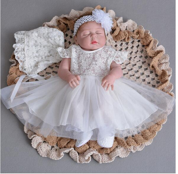 Baby Girl's Pageant Suits 2017 Summer Flower Christening Dress+Headband+Lace Hat Infant 3PCS Sets Kids Birthday Formal Outfits plain headband 3pcs