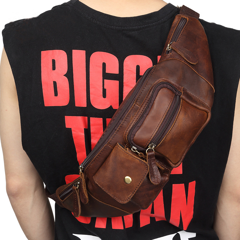 Wholesale Genuine Leather Waist Packs men's Bags Fanny Pack Belt Bag Phone Pouch Travel Male Small