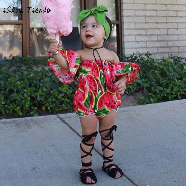 c2adb8268 Infant Kids Baby Girl Off Shoulder Short Sleeve Watermelon Floral Romper  Jumpsuit Headband Outfits Clothes Set