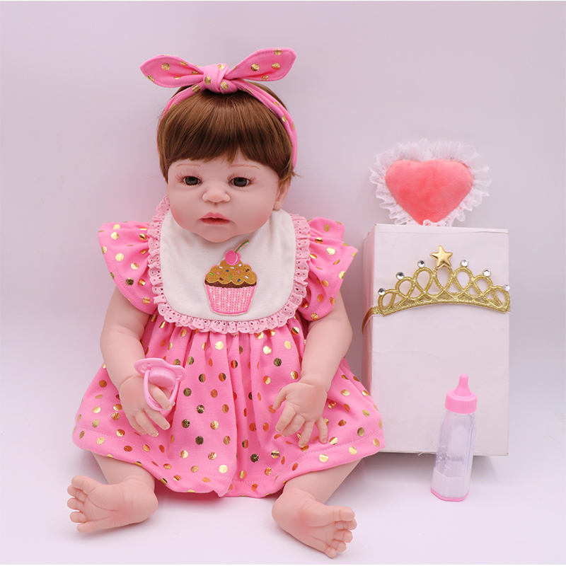 New Type 55 cm Reborn Doll With Crown And Pink Clothes Full Silicone Reborn Doll Adorable Lovely Doll Birthday Gift For Children