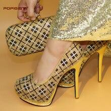 54734836fc7e Gold Color Elegant 14.5cm African High Heels Matching Bag Wonderful Design  Wedding Shoes And Bag