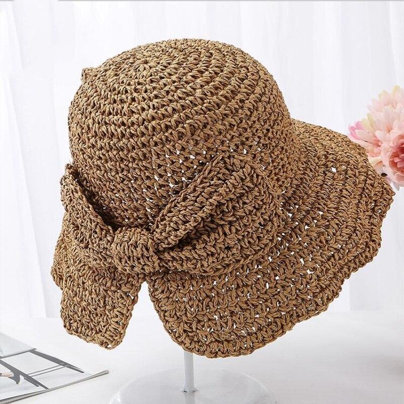 Seioum Parent-child 100%Raffia Bow Sun Hat Wide Brim Floppy Summer Hats For Women Beach Panama Straw Dome Bucket Hat Femme Shade