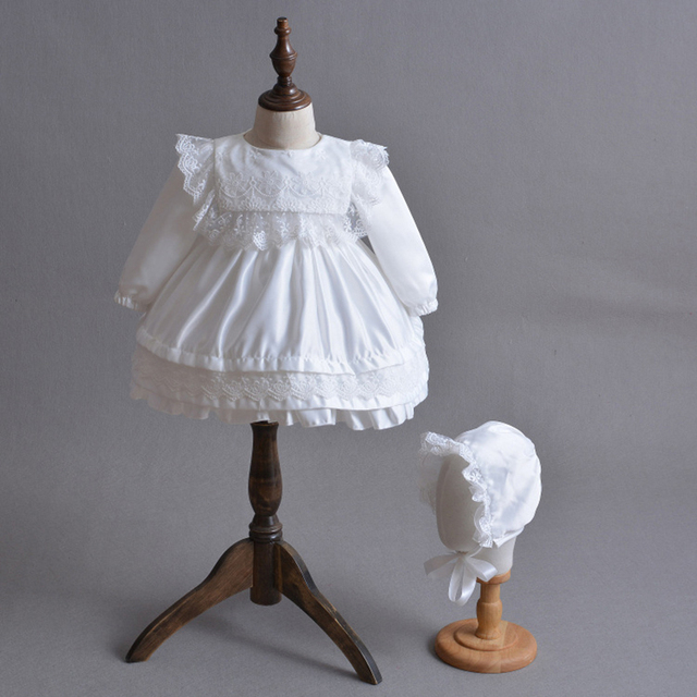 c94d58b247483 US $31.63 |Baby Girl Christening Dress Long Sleeve Satin Baptism Gown with  Bonnet Hat Bridesmaids Frock Ivory White 0 2Y Baby Outfits A015-in Dresses  ...