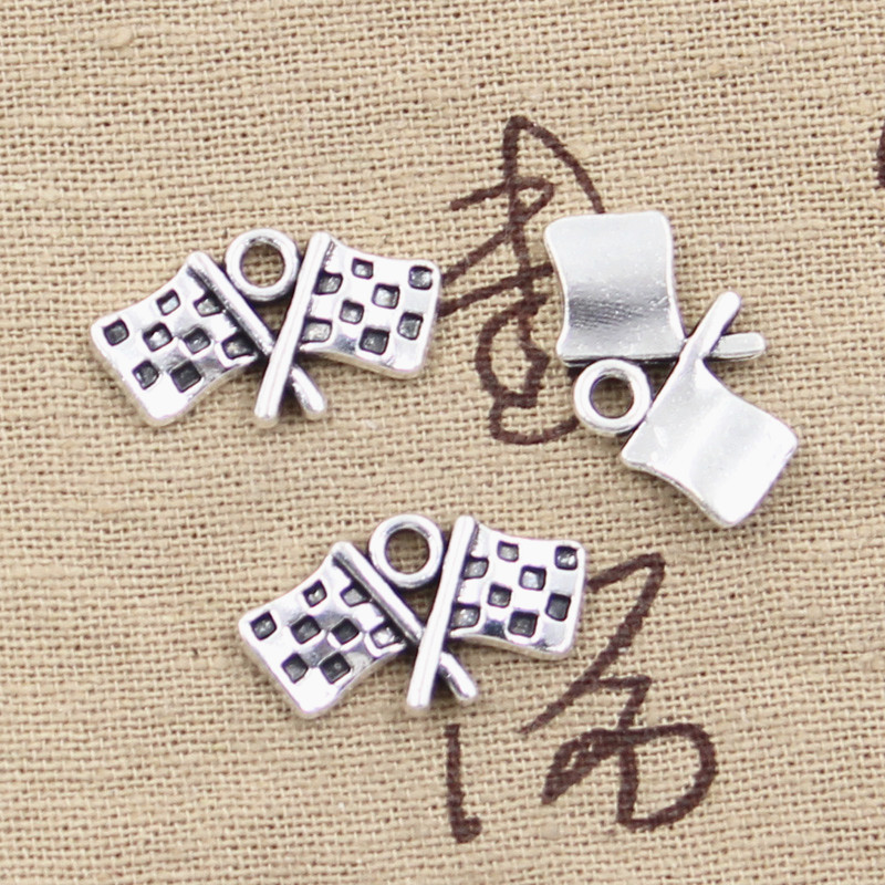 Charms Racing-Flag Jewelry Pendants-Making Tibetan Silver Handmade Silver-Plated Antique