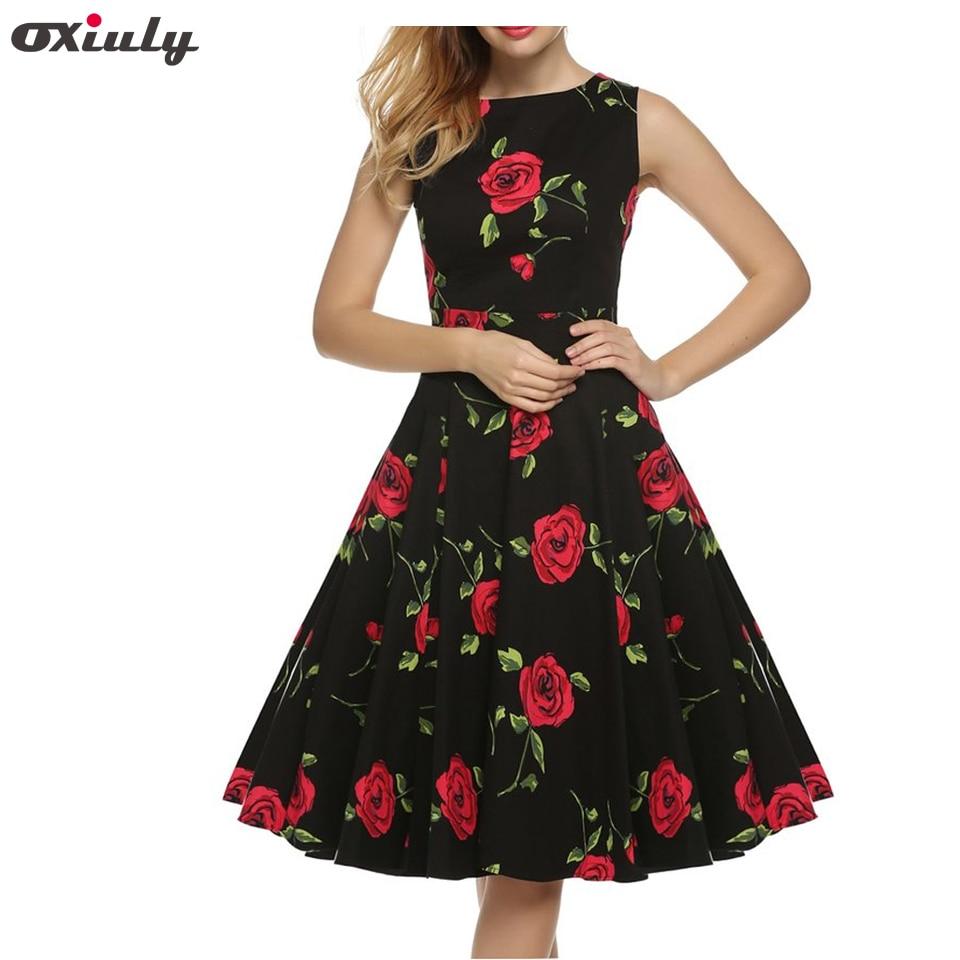 Oxiuly Summer Women 60s Tunic Casual Vintage Rose Flower Printed Slash Neck Sleeveless Prom Vestidos