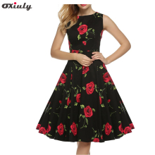Oxiuly Summer Women 60s Tunic Casual Vintage Rose Flower Printed Slash Neck Sleeveless Prom Vestidos Black