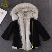 2018 Girls Fur Coat Parkas Winter Fur Collar Hooded Kid Jackets Snowsuit Removable Fox Fur Liner Children Thick Hooded Outerwear