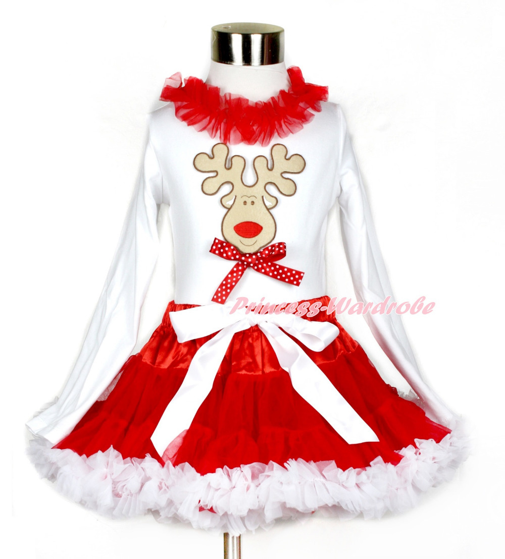 Xmas Red White Pettiskirt with Christmas Reindeer & Minnie Dots Bow Print White Long Sleeve Top with Red Lacing MAMW406 christmas hat reindeer white top minnie dots petal pettiskirt girls outfit nb 8y