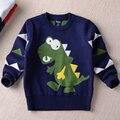 2016 новый теплый хлопок зима мальчик мода милый мультфильм динозавра трикотажные рубашки твердые дети свитер детская одежда