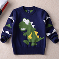 2016 new warm cotton winter boy fashion cute cartoon dinosaur knit shirts solid kids sweater children clothing