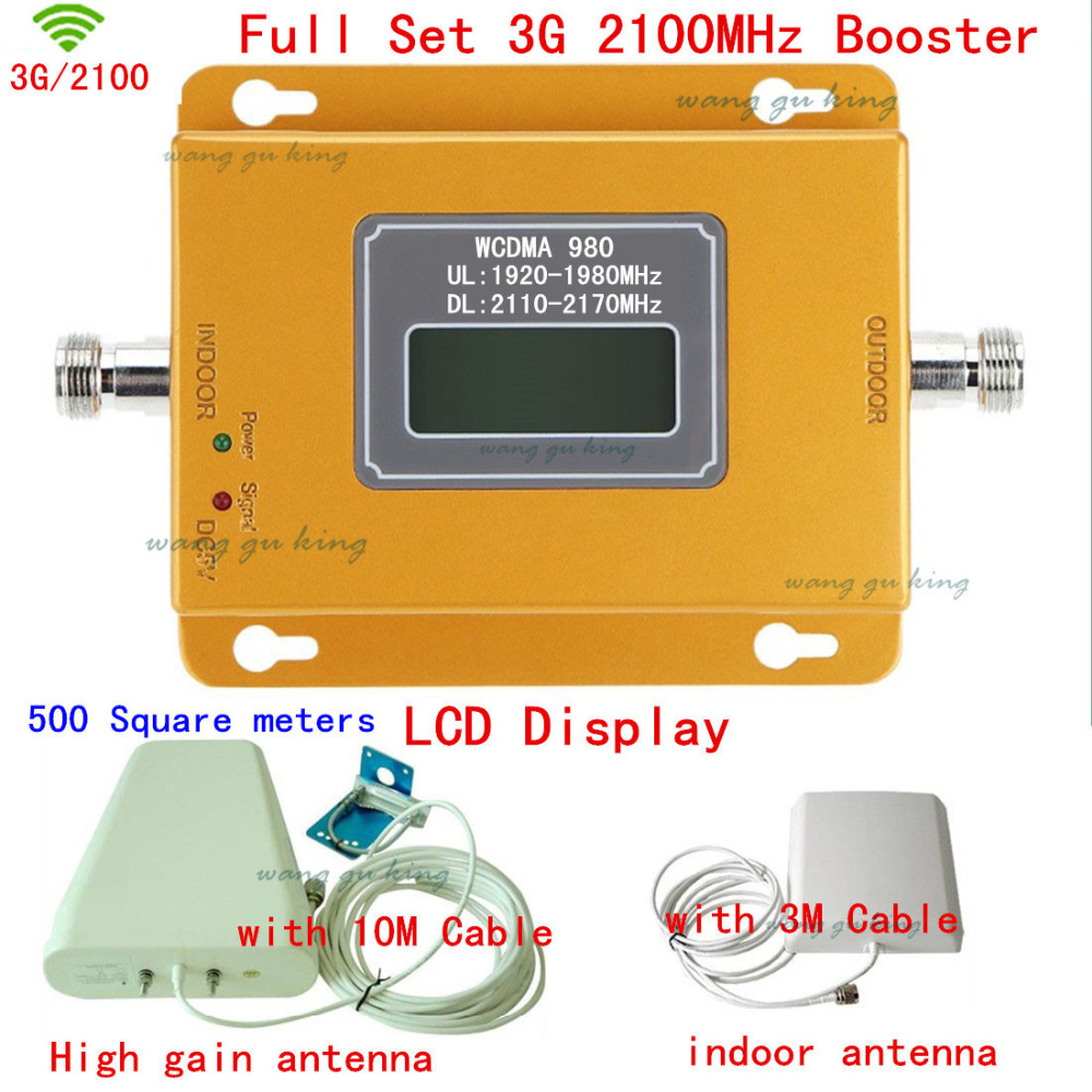 Full Set LCD Display 3G W-CDMA 2100MHz Cell Phone Signal Booster 3G 2100 UMTS Signal Repeater Amplifier Outdoor Antenna + CableFull Set LCD Display 3G W-CDMA 2100MHz Cell Phone Signal Booster 3G 2100 UMTS Signal Repeater Amplifier Outdoor Antenna + Cable