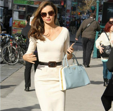 New knee-length three quarter White Sexy Dress Celebrity Kerr Solid V-Neck Tank Wear To Office Work Sheath Pencil Party Dresses