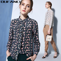 2017 Spring Summer New Blouse Women Office Ladies Ruffled Collar Blouse Long Sleeve Print Floral 100