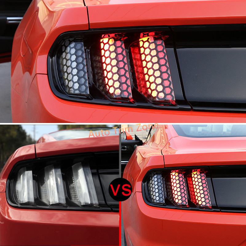 Pcs Exterior Rear Tail Lamps Lights Hexagon Sticker For Ford Mustang
