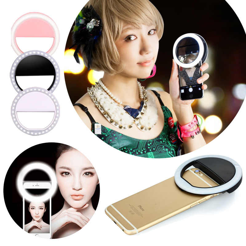 ET الهاتف Selfie فلاش مصباح ليد قابل للتعديل الهاتف المحمول ملء ضوء ل iphone 6 7 8 زائد LED ضوء وماض مشبك حلقي الهاتف عدسة