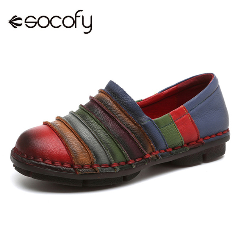 Socofy Rainbow Stripe Genuine Leather Flat Shoes Woman Vintage Loafers Women Shoes Casual Slip On Retro Summer Spring Soft Flats new 2017 spring summer women flats shoes genuine leather flat heel pointed toe black red shoes woman slip on casual flat shoes