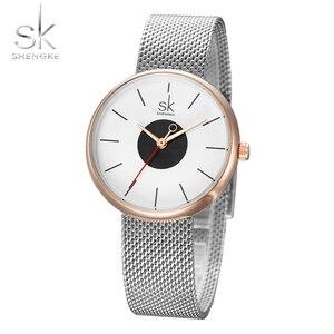 Image 5 - Shengke брендовые роскошные женские часы высокого качества с черным сетчатым ремешком, креативные наручные часы для девочек, ЖЕНСКИЕ НАРЯДНЫЕ часы Reloj Mujer 2017
