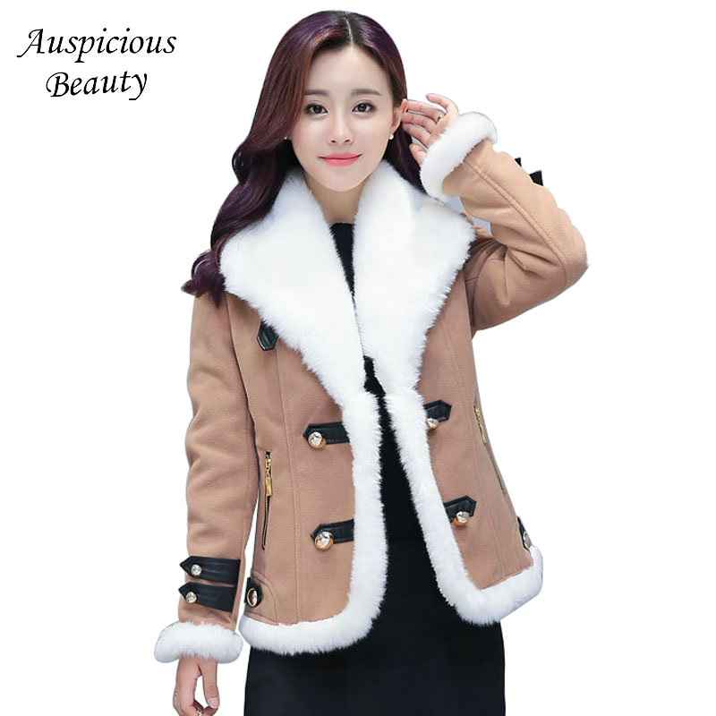 2017 New Winter Cotton Outerwear Female Fur Collar Short Jacket Coat Women Plus Size Single Breasted Thickening Warm Coat CXM330
