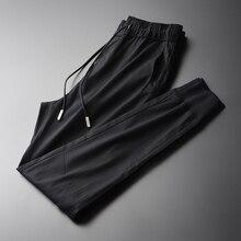 Minglu nouveau doux Tencel tissu hommes cheville longueur pantalon à la mode et décontracté noir hommes pantalons hommes pantalon grande taille M 4XL
