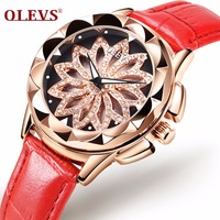 OLEVS Fashion Women Golden Watches 2018 High Quality Hollow Out Leather Quartz Watch Woman Dress Ladies
