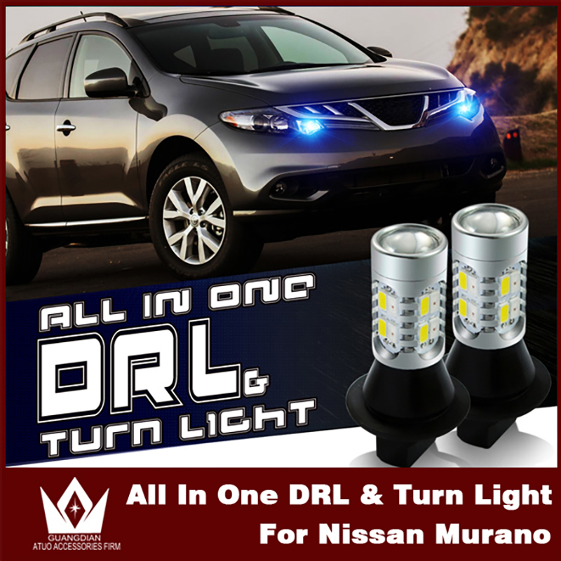 Tcart 2pcs Car Bulbs DRL Daytime Running Lights Turn Signals Auto Led White+Amber Lamp WY21W T20 7440 For Nissan Murano Z51 2012 ijdm amber yellow error free 2835 led 1156 p21w led bulbs for car front or rear turn signal lights daytime running lights