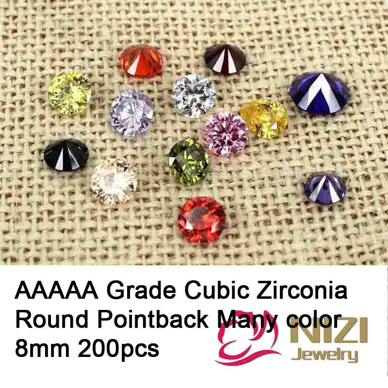 8mm 200pcs Luxury Cubic Zirconia Beads For DIY Accessories Round Shape AAAAA Grade Pointback Cubic Zirconia Stones Many Color