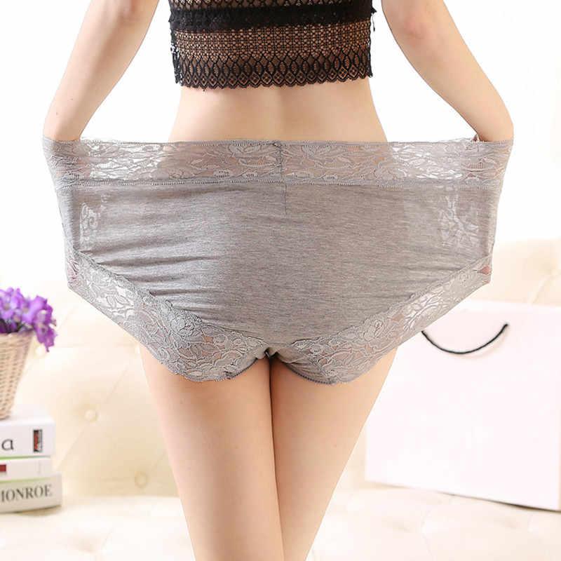 2020 Mode Sexy Briefs Dessous Frauen Unterwäsche plus größe 6XL 7XL Modal Baumwolle Spitze hiagh taille frauen Höschen