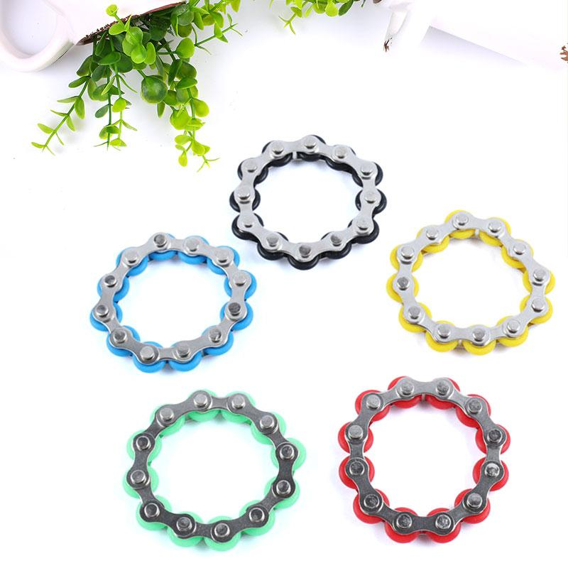 2017 12 Knots Bike Chain Fidget Spinner Metal Bracelet Hand Spinner Finger Top Anti-Stress Wheel Chaney Fidget Toys For Autism