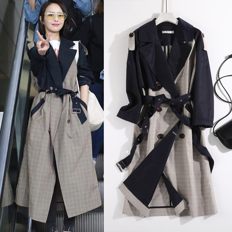 Hot sale Trendy Classic patchwork Ovesized Women long   Trench   Coats Plus size autumn winter runway Fashion Outerwear