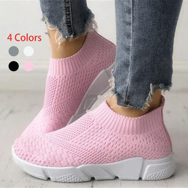 Factory Outlet Women Shoes Plus Size 42 Stretch Fabric Sneakers Women Casual Vulcanize Shoes Female Slip On Basket Socks Shoes