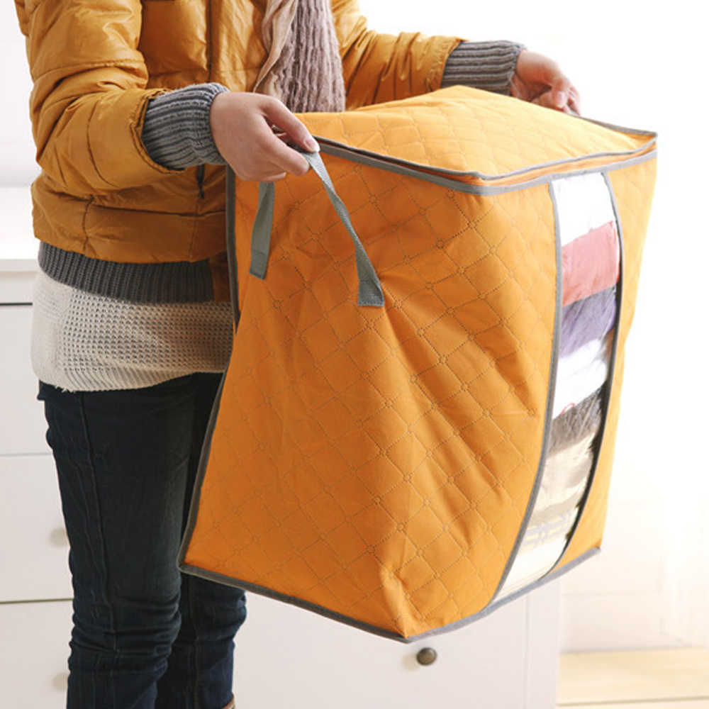 Clothes Box Underbed Bedding Foldable Organizer Container Storage Bag Case Stereo Dust Cover Perspective Clothing Pouch