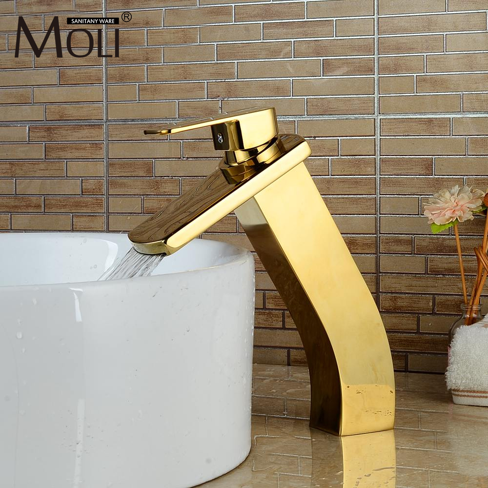 Luxury Gold Bathroom Sink Faucet Waterfall Basin Mixer Tap Hot and Cold Water Tall Faucets luxury bathroom