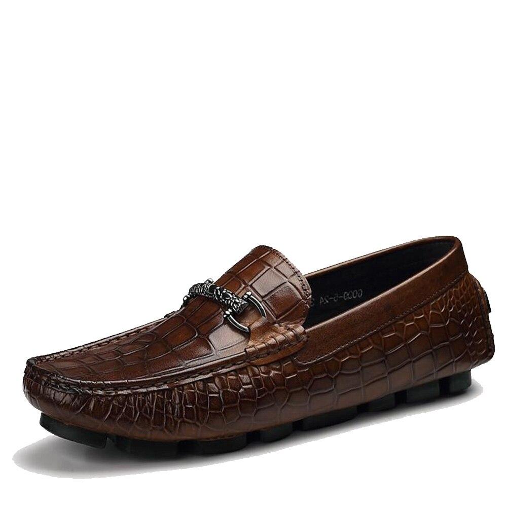Mocasines para hombre Sipriks mocasines de cuero Tan deslizamiento en los zapatos de conducción Casual de moda jefe zapatillas de fumar zapatos italianos importados-in Zapatos formales from zapatos    2