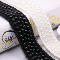 10y Lot 35mm Pearls Beadding Lace Trimming Fabric Ribbons DIY Collar Sewing Crafts Garment Headdress Decor