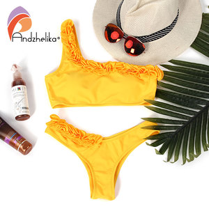 Image 5 - Andzhelika New Bikini Solid Sexy One Shoulder Bikini Sets Women Floral Swimsuit Brazilian Swimsuit Beach Bathing Suit Monokini