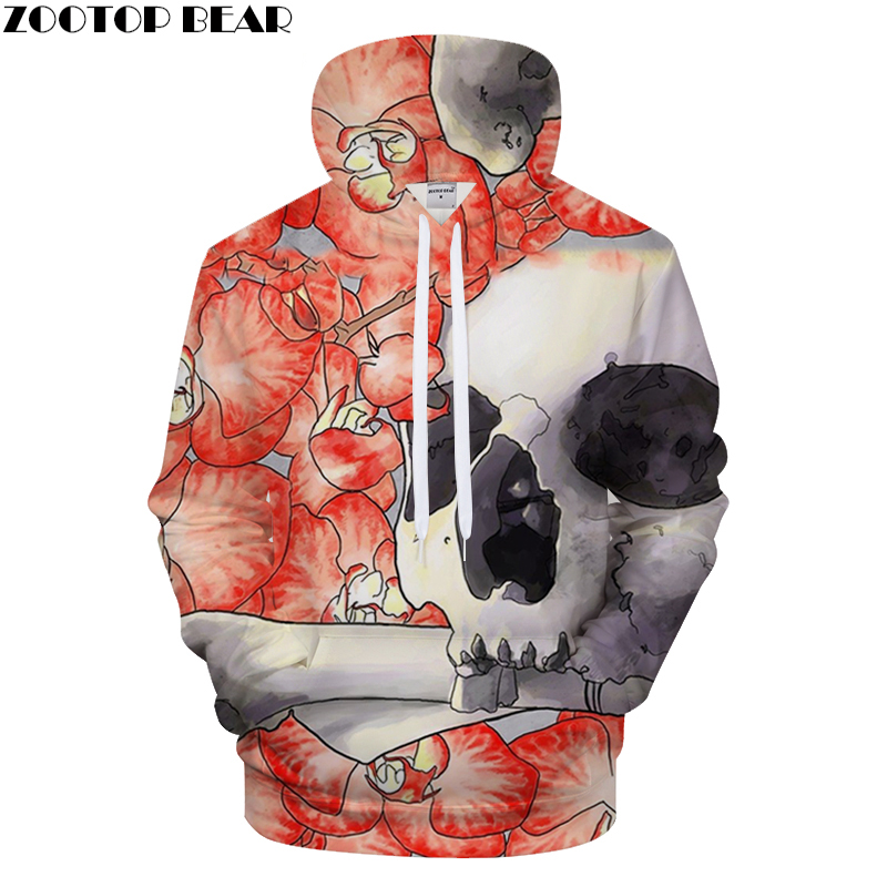 Skull Printed Hoodies Men Women Sweatshirts Petal Tracksuits 3d Pullover Hooded Coat Autumn Clothing Anime Drop ship Asian size