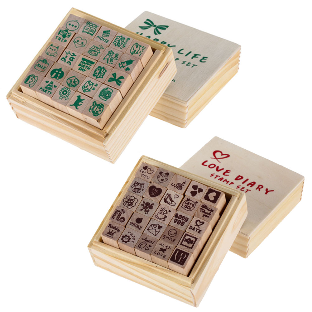 Rubber stamp craft supplies - 1 Box 25pcs Love Heart Diary Multi Patterns Wooden Diy Stamp Rubber For Card Making