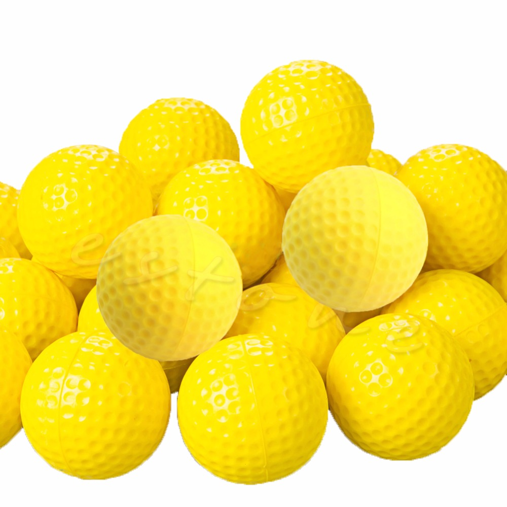 10Pcs PU Foam Golf Balls Yellow Sponge Elastic Indoor Outdoor Practice Training
