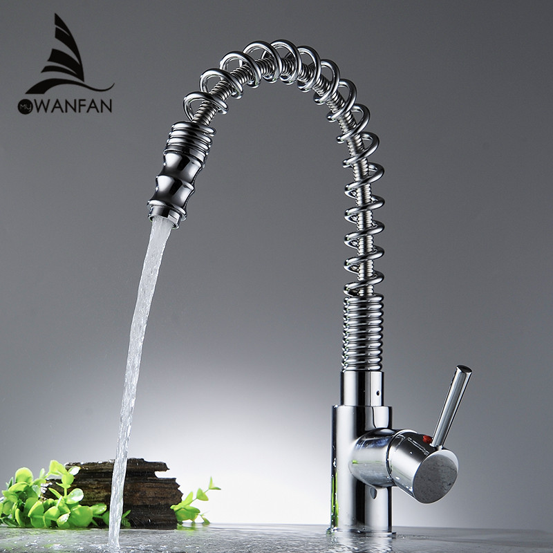 Kitchen Facuets Silver Brass Faucets for Kitchen Sink Single Lever Pull Out Spring Spout Mixers Tap