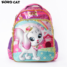 Купить с кэшбэком Cartoon 3D Kids Children School Backpack Cute Dog Bags Girls Bookbag  School Backpacks for Teens Girls Student Schoolbag