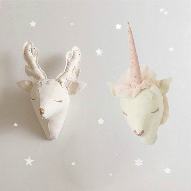 Unicorn Deer Stuffed Toys Animal Heads Wall Decor Hanging Nursery Mounted For Kids