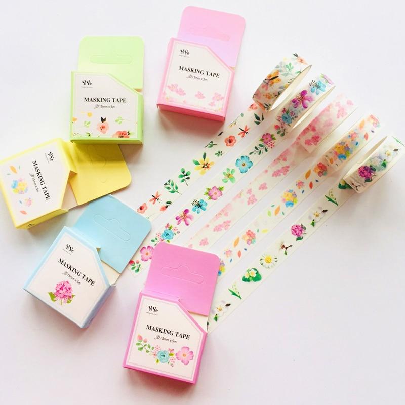 1.5cm*5m Elegant Flowers Masking Tape Album Scrapbooking Decor Paper Washi Tape Stick Label