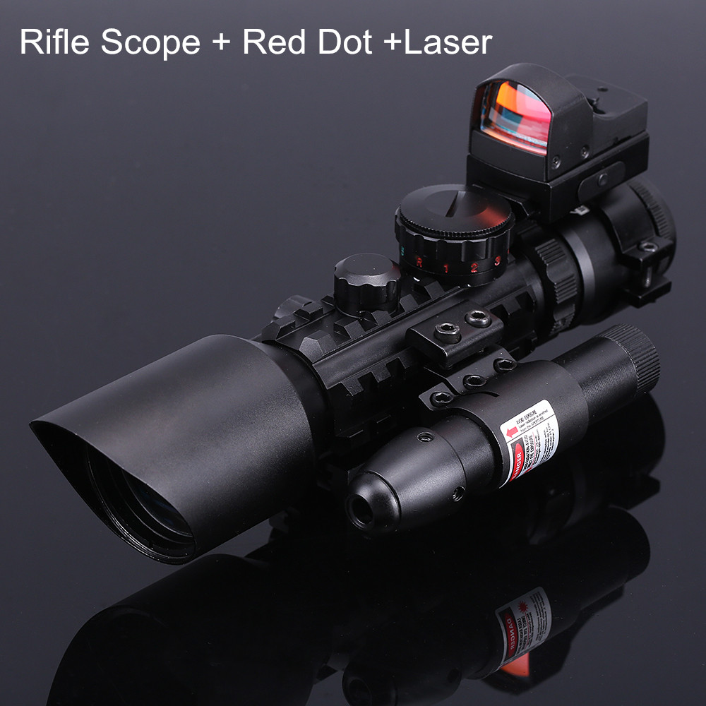 Hunting Riflescope Red/Green Dot Laser Scopes Tactical Optics Airsoft Air Guns Rifle Scopes Sniper Sight Scope Holographic Sight 3 10x42 red laser m9b tactical rifle scope red green mil dot reticle with side mounted red laser guaranteed 100%