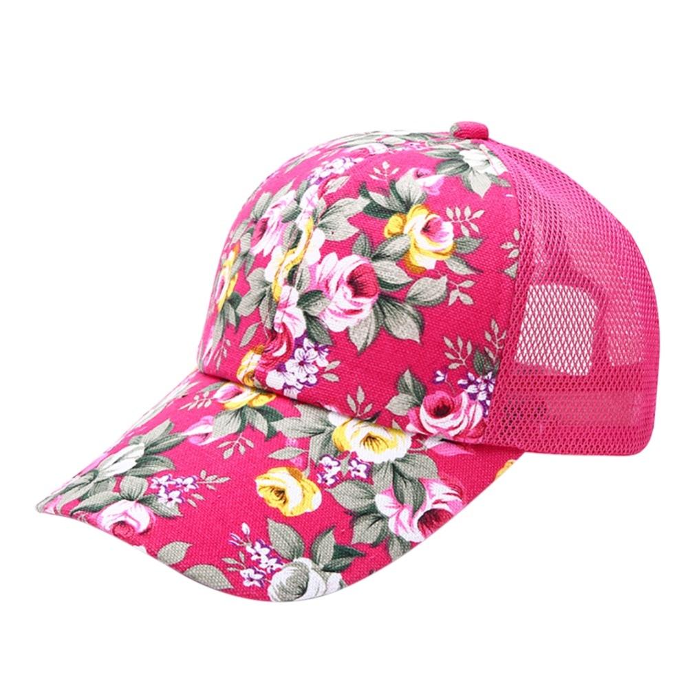 ①Femme Floral Chapeau Casquette de baseball Chapeau De Maille ... 3b9731fcb29
